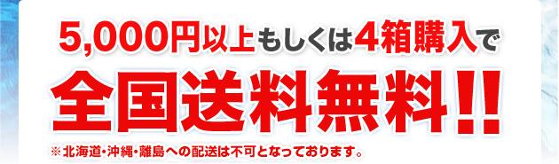 5,000円以上もしくは4箱購入で全国送料無料!!※北海道・沖縄・離島への配送は不可となっております。