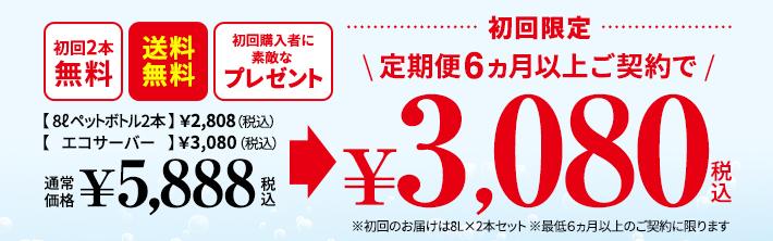 定期便6ヵ月以上ご契約で、エコサーバー無料レンタル、送料無料、素敵なプレゼント、初回限定価格2,300円(税別)